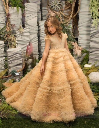Champagne Luxury Little Girls Pageant Dress Flower Girl Dress