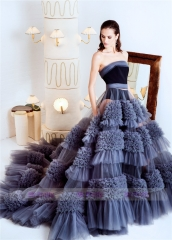 Luxury Velvet Tulle Short Train  Prom Dress Bridal Gown