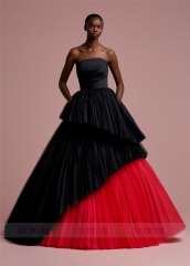Black & Red Tulle Short Train  Prom Dress Bridal Gown