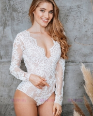 Ivory Lace Long Sleeve Top Wedding Dress Bodysuit Top