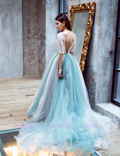 Mixed Color  Long Train Wedding Skirt Wedding Dress
