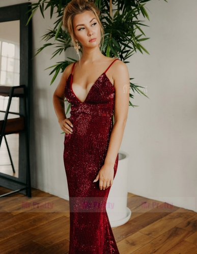 Burgundy Sequin Mermaid  Sexy Prom Dress Special Occasion Dress