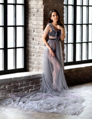 Dusty Blue Tulle  Sexy Prom Dress Pregnant Dress