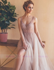 Mauve Beaded Tulle  Sexy Prom Dress Special Occasion Dress
