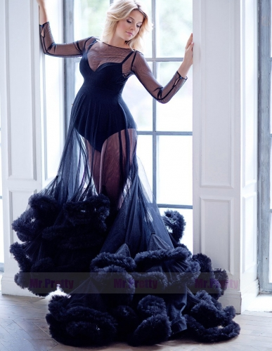Black Tulle  Sexy Prom Dress Pregnant Dress