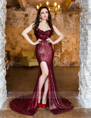 Burgundy Sequin Mermaid  Sexy Prom Dress Mermaid Special Occasion Dress
