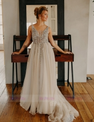 Light Grey Beaded Tulle  Sexy Prom Dress Special Occasion Dress