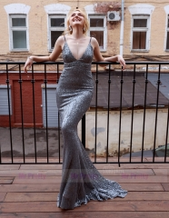 Silver Sequin Mermaid  Sexy Prom Dress Special Occasion Dress