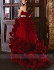 Dark Red Sexy Prom Dress Pregnant Dress Maternity Dress