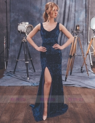 Navy Blue Sequin Mermaid  Sexy Prom Dress Special Occasion Dress