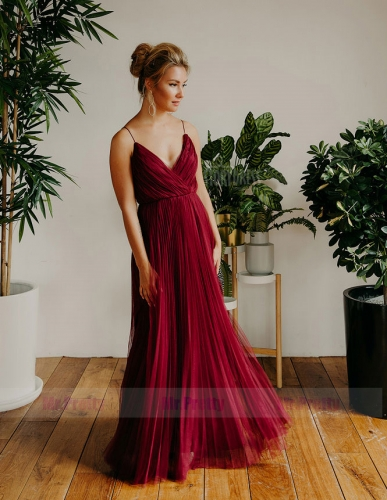 Burgundy Tulle  Sexy Prom Dress Mermaid Special Occasion Dress
