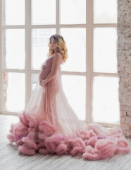 Mauve Tulle  Sexy Prom Dress Pregnant Dress