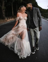 Sexy Sequin Lace Tulle Wedding Dress Bridal Gown