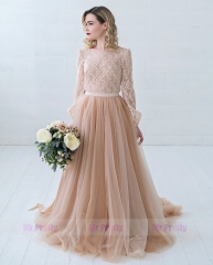 Dusty CoralTulle Wedding Skirt 2 Pieces Party Dress