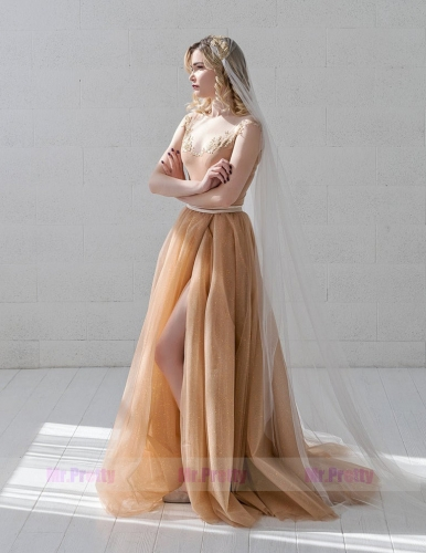 Sparkle Tulle Wedding Skirt 2 Pieces Party Dress