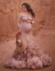 Mauve Lace Up Back  Maternity Dress Sexy  Pregnant Photo Shooting Dress