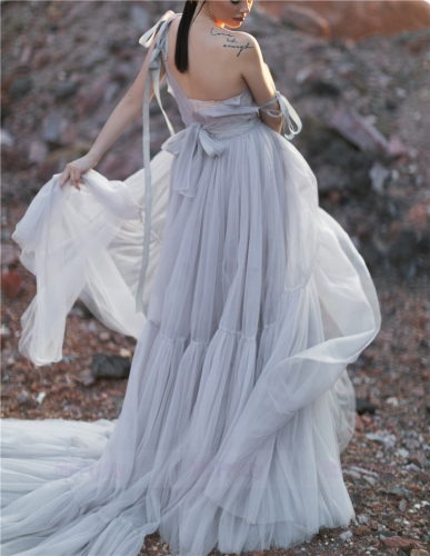 Light Grey Sexy Tulle Dress Long Train Photo Shots Dress Prom Dress