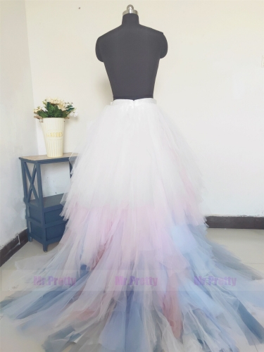 Colorful Tulle  Short Train Skirt Bridal Skirt