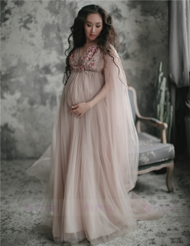 Light Grey Tulle Lace Sexy Maternity Dress Photo Shot Dresses
