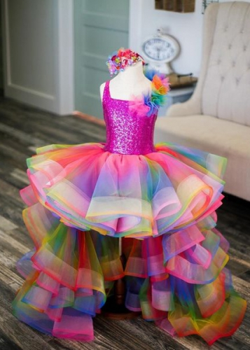 Rainbow Colorful Little Girls Pageant Dress Flower Girl Dress