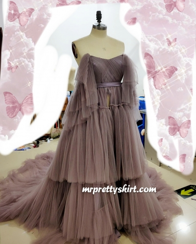 Dusty Purple Pleat Tulle  Lace Up Maternity Dress Free Shipping