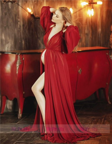 Burgundy Chiffon Maternity Dress Photoshots Dress