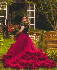Burgundy Ruffle Long Train Wedding Skirt