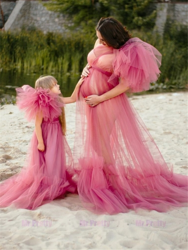 Open Front Tulle Mother and Kids Dress