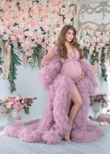 Mauve Open Front  Maternity Dress Photo Shooting Dress