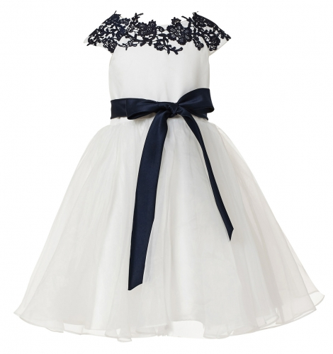 Ivory Organza Short Flower Girl Dress