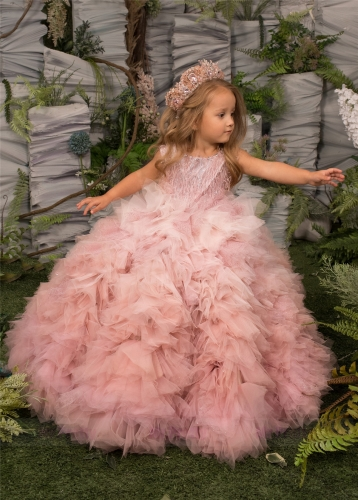 Luxury Pink Tulle Girls Pageant Dress