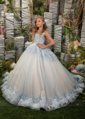 Light Blue Floral Tulle Lace Girls Pageant Dress