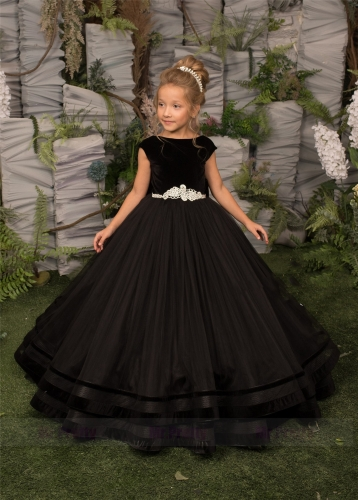 Black Velvet Tulle Girls Pageant Dress