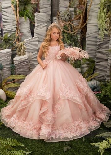 Pink Floral Tulle Lace Girls Pageant Dress