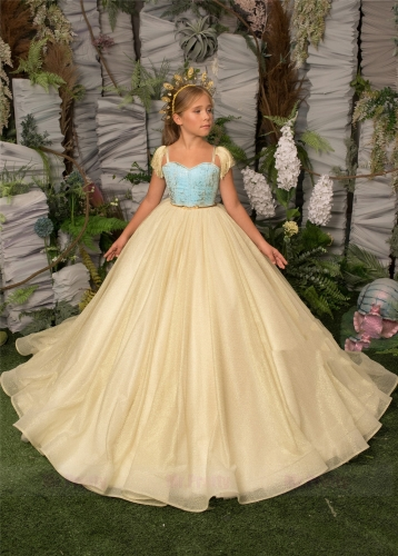 Light Gold Sparkle Tulle Luxury Girls Pageant Dress
