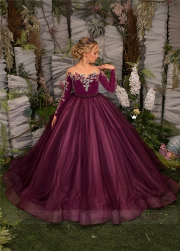 Rose Red Velvet Tulle Girls Pageant Dress