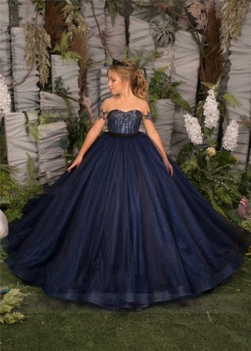 Navy Blue Lace Girls Pageant Dress
