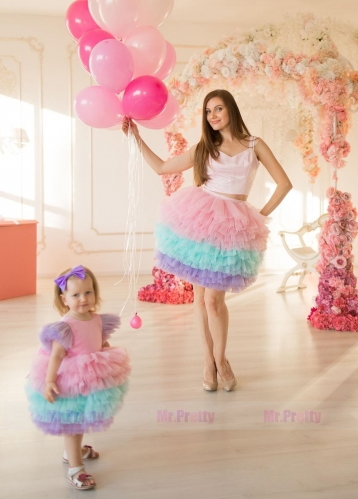 Colorful Tutu  Short Mother and Kids Dress