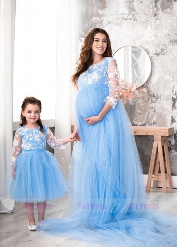 Blue Lace Tulle Mother and Kids Dress Maternity Dress