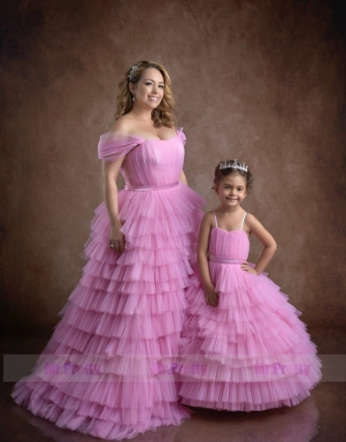 Hot  Pink  Tulle Mother and Kids Dress