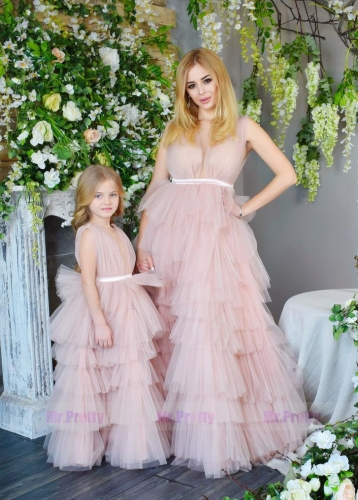 Blush Pink  Tulle Mother and Kids Dress