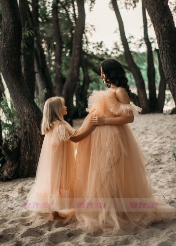 Champagne Mother and Kids Dress Maternity Dress