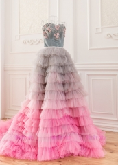 Colorful Short Train Wedding Skirt