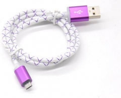 High quality bulk USB cable fish net nylon braided USB cable for iphone 7