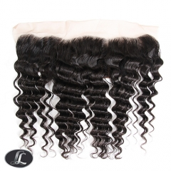 """Lace Frontal"" Deep Curly texture, African European women hair style, virgin hair, grade10, color 1B, Lace 13 by 4 Inch"