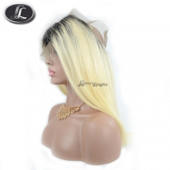 360 Lace Frontal, blonde ombre color, hair texture straight, virgin hair Peruvian hair, pre-plucked frontal, elastic bands