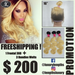 Lace Frontal Peruvian hair + 3 Bundles hair weaves, blonde ombre color, hair quality Grade10. Special offer Free shipping