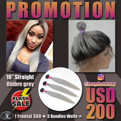 Lace Frontal Peruvian hair + 3 Bundles hair weaves, gray ombre color, hair quality Grade10. Special offer Free shipping