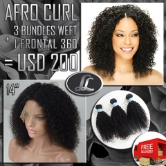 Afro Curly Bundles with 360 Lace Frontal Virgin Hair Quality Grade 10 no Shedding no Tangle and hold curl after washing Promotion
