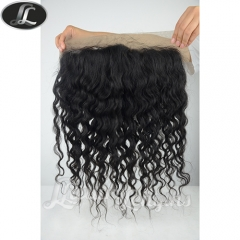Lace frontal, Curly Peruvian hair grade 10, virgin human hair, medium size 13*4 inch lace base color black natural #1B.